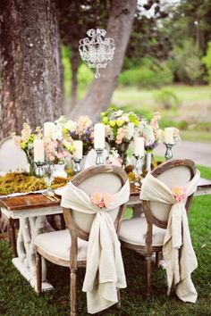 shabby chic mariage jardin bougeoirs table en bois rubans