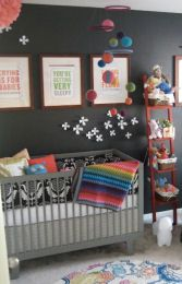 To go with your other nursery pinnings of the evening, I like this one and it looks like you. Dark walls with pops of color. @Casey Ahlden