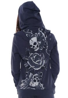 Skull & Blossoms Basic Hoodie    Beautiful design!