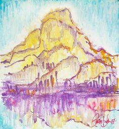 Abstract Art Painting Cloud Mountain Original Acrylic