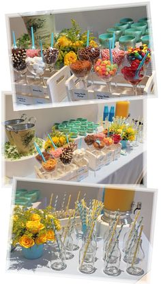 Mesa do sorvete e do suco: Luau Birthday, It's Your Birthday, Birthday Parties, Sweet 16 Parties, Candy Table, Candy Party, Diy Party, Holidays And Events, Flower Power
