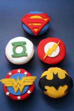 superhero logo cupcakes...Exited about doing these for Cameron