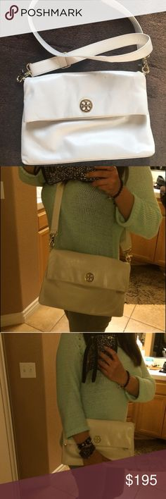 Tory Burch Dena Messenger Bag. (Can be a clutch) 100% Authentic this bag has never been carried however while in my closet it got 3 very tiny marks u can see them on pic #1 they are not very noticeable see pics I was going to ask $225 for this bag but only asking $195 bc of this defect. Color is called Bleach. This is new tag is included however is not attached. Please see additional pics in my closet (separate listing) Trade Value higher Tory Burch Bags Crossbody Bags