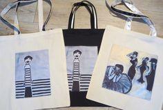 Sac de courses, cabas en coton écru ou noir avec reproduction d'art : Autres sacs par catarina-marques