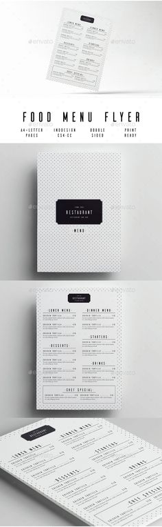 Minimal Food Menu Template InDesign INDD. Download here: http://graphicriver.net/item/minimal-food-menu/15005625?ref=ksioks