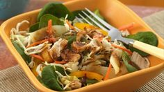 Betty Crocker's Heart Healthy Cookbook shares a recipe! Add something hearty to your family's Asian cuisine night!  Serve chicken salad drizzled with peanut say dressing – a dish that's ready in just 15 minutes.