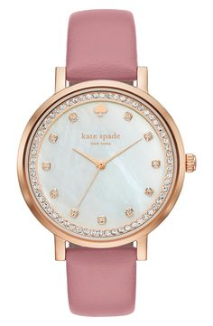 Radiant crystals sparkle at the indexes and outer track of this glamorous Kate Spade watch set on a slender leather strap in pink.