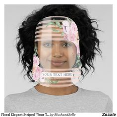 "Shop Floral Elegant Striped ""Your Text Here"" Face Shield created by BlushandBelle. Personalize it with photos & text or purchase as is! Diy Mask, Diy Face Mask, Face Masks, Tapas, Clear Face, Best Face Mask, Black Image, Plastic Animals, Fashion Face Mask"