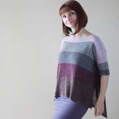 Oshima Pullover Pattern – This loose-fitting pullover features graphic blocks of color in a rustic, tweedy silk. Casual yet flattering, Oshima is a statement-making sweater and a fun and easy knit.