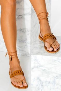"""Explore our chain collection of Women's lace up sandalsr sandals, meet """"Dido"""" & """"Calypso"""" in an amazing camel (brown) color and add a boho-chic touch to your look. These unique gladiator sandals are great for grounding your summer outfit. Elegant yet comfy and so lightweight that they feel as if you're wearing virtually nothing at all. Greek Chic Handmades flats are handcrafted in Athens, Greece and designed to accompany you everywhere. Find your perfect pair of beautiful Greek sandals!"""