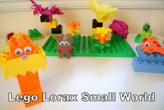 Lego Lorax Small World.  What a fun way to connect playtime to stories.