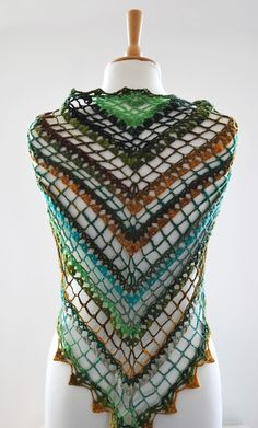 feminine crochet shawl in aqua green yellow mustard by annerstreet, $49.00