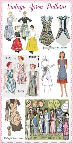 Cute Vintage Aprons, Retro Aprons and Patterns Vintage aprons, retro aprons, old fashioned aprons & apron sewing patterns. New vintage style aprons for women and kids inspired by the Retro Apron Patterns, Apron Pattern Free, Vintage Apron Pattern, Vintage Dress Patterns, Aprons Vintage, Vintage Dresses, Sewing Aprons, Sewing Clothes, Diy Clothes