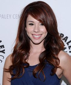 Jillian Rose Reed Hairstyle - Long Wavy Formal - Dark Red