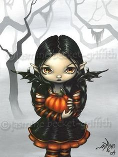Pumpkin Pixie gothic Halloween fairy fantasy art print by Jasmine Becket-Griffith via Etsy. Halloween Fairy, Gothic Halloween, Fantasy Kunst, Fantasy Art, Dark Fantasy, Jasmine Becket Griffith, Vampires, Fairy Pictures, Spooky Pictures