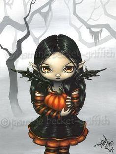 Pumpkin Pixie gothic Halloween fairy fantasy art print by Jasmine Becket-Griffith 8x10.  via Etsy.