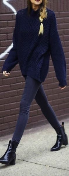 //Oversized Navy Sweater, Slim Pants, Chelsea Boots // Fall Street style. Shop similar style at Trendslove. http://www.trendslove.com/