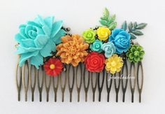 Bridal Hair Comb Colorful Wedding Collage Turquoise Blue Yellow Orange Red Apple Green Bright Summer Rainbow Leaf Bridal Headpiece Neon