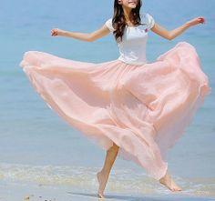 I like all the fun, flowy skirts. Lots of colors too - Princess pink Chiffon skirt Maxi Skirt Long by fashionclothingshow Chiffon Skirt, Silk Chiffon, Dress Skirt, Dress Up, Cotton Skirt, Chiffon Material, Dame, Skirts, Pink Maxi