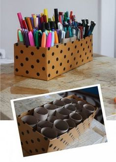 Make an organizer with shoe box and toilet paper tubes. Creatively organized home office boosts your mood and make you more productive.