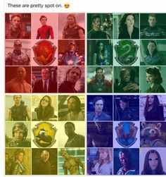 These are so completely WRONG but I love the idea of the marvel characters being sorted into the houses