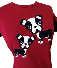 Boston Terrier Shirt  Deep Red Dog TShirt  by emandsprout on Etsy, $16.00