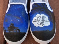 $120?!?!?!?!?!?! The Fault In Our Stars Custom Painted Shoes by LindseyRosesDesign, $120.00 Custom Painted Shoes, Hand Painted Shoes, Custom Shoes, Star Clothing, Star Quotes, Tfios, The Fault In Our Stars, Shoe Art, On Shoes