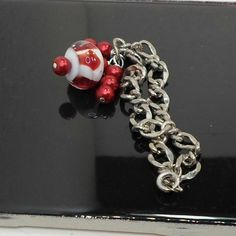 Handmade by Pat2 Chain Bracelet red white lampwork bead by Bob size 7 1/4 by BobsFlameBeads on Etsy