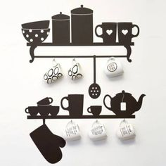 Black Wall Hook Kitchen Rack Utensil Coffee Cup Mug Hanger Holder Removable Wall Decor Decal Stickers by Wall Decals - Shop Online for Kitchen in Australia Modern Kitchen Wall Decor, Kitchen Wall Stickers, Kitchen Wall Art, Kitchen Vinyl, Kitchen Rack, Diy Kitchen, Room Kitchen, Kitchen Stuff, Kitchen Cabinets