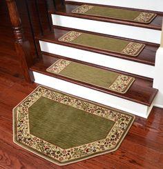 "Dean Tape Free Pet Friendly Non-skid Stair Gripper Ultra Premium Carpet Stair Treads - Talas Floral Green 31"" W (Set of 15) Plus a Matching Landing Hearth Mat 27"" x 39"" (2x3) - Dean Stair Treads"