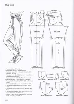 from La tecnica dei modelli uomo donna 1 pocket front pant Sewing Pants, Sewing Clothes, Dress Sewing Patterns, Clothing Patterns, Fashion Sewing, Diy Fashion, Diy Kleidung, Jacket Pattern, Diy Clothing