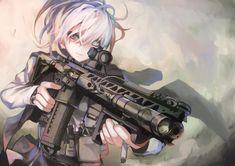 Anime anime anime niñas 1355x957 arma del arma cabello blanco pelo corto AR-15