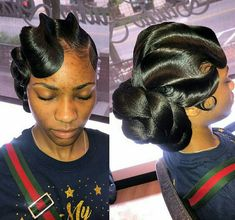 Online Glam Waving to book. learn how creates that smooth, polished look popular for weddings, proms, red carpet & holiday events! Black Hair Updo Hairstyles, My Hairstyle, Black Girls Hairstyles, Wedding Hairstyles, Vintage Hairstyles, Quick Weave Hairstyles Bobs, Twist Hairstyles, Ponytail Styles, Curly Hair Styles