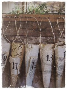 Love love love this look!!!  Newspaper advent calender - but could use this for any season...