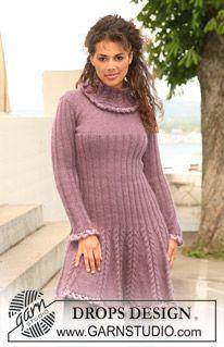 """Gebreide DROPS jurk van """"Alpaca"""" en """"Kid-Silk"""" met gehaakte randen van """"Cotton Viscose"""". Maat XS tot en met XXL ~ DROPS Design"""