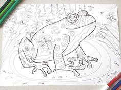 frog coloring page adult download colouring doodle doodling frog animal colouring nature image zen printable print digital lasoffittadiste