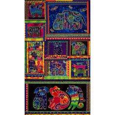 Title : Laurel Burch Dogs and Doggies 9 Block Multi-colored Bright Panel ~ sold by the PANEL. You are buyingone panel from theDogs and Doggies collection by Laurel Burch, which was released September 2015 forClothworks. Laurel Burch Fabric, Puppy Flowers, Panel Quilts, Quilt Kits, Cotton Quilts, Cotton Fabric, Fabric Panels, Dog Art, Art Lessons