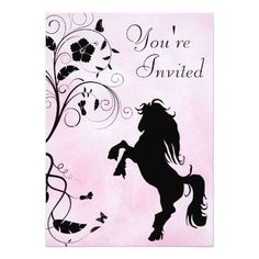 Shop Rearing Horse and Flowers Pink Birthday Invitation created by SilhouetteCollection. Personalize it with photos & text or purchase as is! Horse Birthday Parties, Butterfly Birthday Party, Pink Birthday, Flower Birthday, Birthday Ideas, 9th Birthday, Happy Birthday, Birthday Cake, Gold Invitations