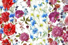 Watercolor Floral Seamless Patterns by Depiano on Creative Market