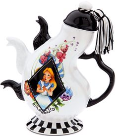 Disney Alice in Wonderland Tea Pot, celebrate your Un-Birthday any day of the year . Alice, the Mad Hatter and Dormouse decorate a ceramic pot with three spouts, a match to our Mad Tea Party. Alice In Wonderland Teapot, Teapots Unique, Cafetiere, Teapots And Cups, Mad Hatter Tea, Ceramic Teapots, My Tea, Tea Time, Tea Party