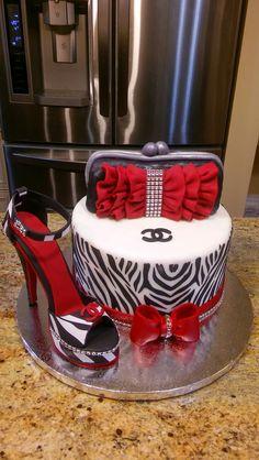 Ladies Sugar Shoe Purse Zebra Cake