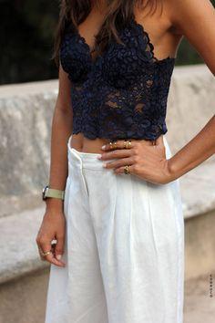 Zara Black Lace Crop Cami