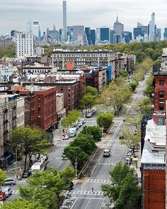 Photo by @camilleschaer  Harlem's beautiful Adam Clayton Powell Blvd leads straight to Central Park with midtown north on the horizon. #harlem #centralpark #midtown #skycrapers #adamclaytonpowellblvd #nycstyle #spring #streetstyle #boulevard #steetphotography #iconic #view #nycskyline I love spring colors! #what_i_saw_in_nyc  #nyc #newyork