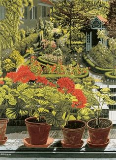 Adolf Dietrich (1877-1957) —  Garden with Geraniums on the Windowsill, 1933  (581x800)