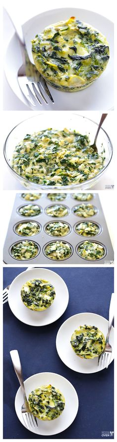 Easy Spinach Artichoke Quiche Cups -- All the goodness of spin dip in mini quiche cups! They are easy to make and freeze