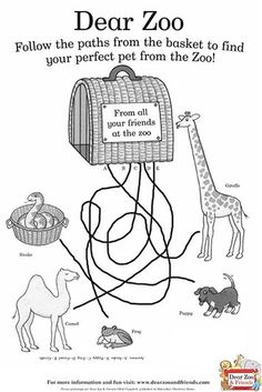 'I wrote to the zoo to send me a pet .'Rod Campbell's classic lift-the-flap book Dear Zoo has been a firm favourite with toddlers and parents alike . Zoo Activities Preschool, Book Activities, Dear Zoo Party, Dear Zoo Book, Zoo Party Themes, Story Sack, English Book, Activity Sheets, Book Themes