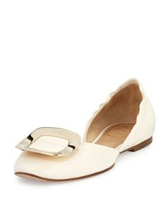 Ballerine+Chips+d\'Orsay+Flat,+White++by+Roger+Vivier+at+Neiman+Marcus.