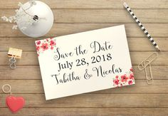 Printable save the date cards wedding, Floral save the date card, Personalized cards, Rustic save the date, Printable invitation BD-6001