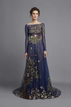 Spring Summer 2015 Midnight blue tulle fantasy embroidered dress
