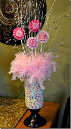 pretty arrangement LOVE made out of pinwheels and glittery letters {the autocrat}